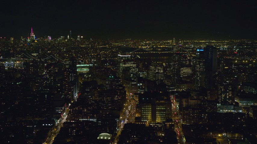 6K stock footage aerial video of circling Brooklyn high-rises at Night in NYC Aerial Stock Footage | AX122_269
