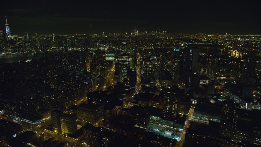 6K stock footage aerial video orbit Brooklyn high-rises at Night in New York City Aerial Stock Footage | AX122_271