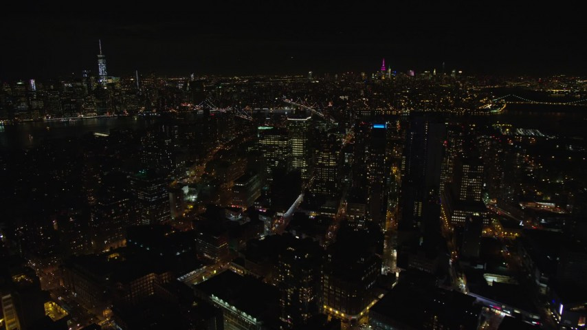 5.5K stock footage aerial video orbit Brooklyn high-rises at Night in New York City Aerial Stock Footage   AX122_271E