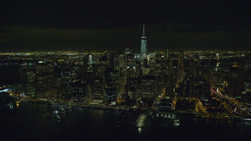 Lower Manhattan Skyscrapers at Nighttime in New York City Aerial Stock Footage | AX122_279
