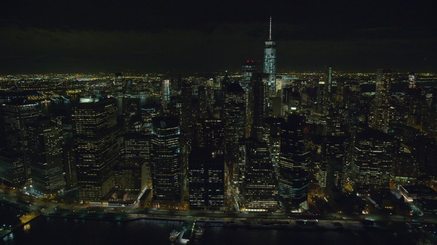 6K stock footage aerial video of riverfront towers in Lower Manhattan at Night in NYC Aerial Stock Footage | AX122_280