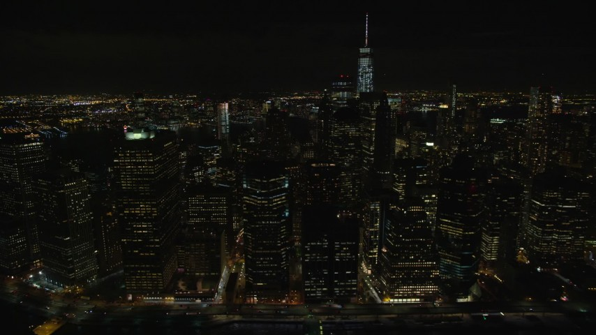 5.5K stock footage aerial video of riverfront towers in Lower Manhattan at Night in NYC Aerial Stock Footage | AX122_280E