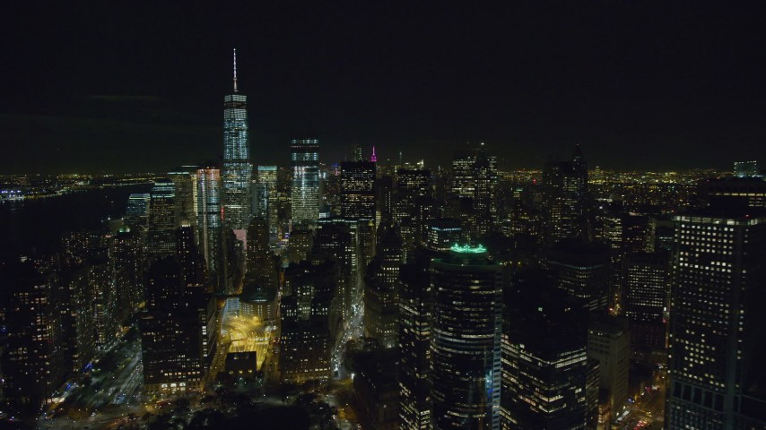 6K stock footage aerial video of an orbit of high-rises in Lower Manhattan at Nighttime in New York City Aerial Stock Footage | AX122_283