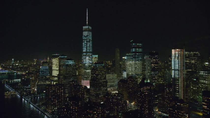 6K stock footage aerial video of One World Trade Center in Lower Manhattan at Nighttime, New York City Aerial Stock Footage | AX122_285