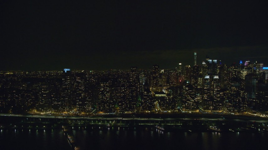 6K stock footage aerial video of flying by Upper West Side skyscrapers at Night in New York City Aerial Stock Footage | AX123_015