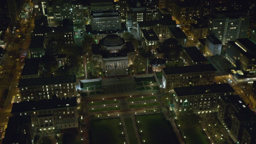 6K stock footage aerial video orbit the library at Columbia University at  Night in NYC
