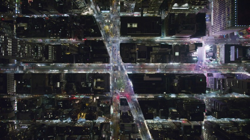 6K stock footage aerial video of a bird's eye of 6th Avenue and Broadway at Night in Midtown, New York City Aerial Stock Footage | AX123_066