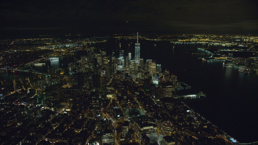 6K stock footage aerial video of a slow approach to Lower Manhattan at Night in New York City Aerial Stock Footage | AX123_072