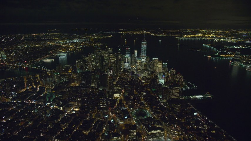 6K stock footage aerial video of a slow approach to Lower Manhattan at Nighttime in NYC Aerial Stock Footage | AX123_080