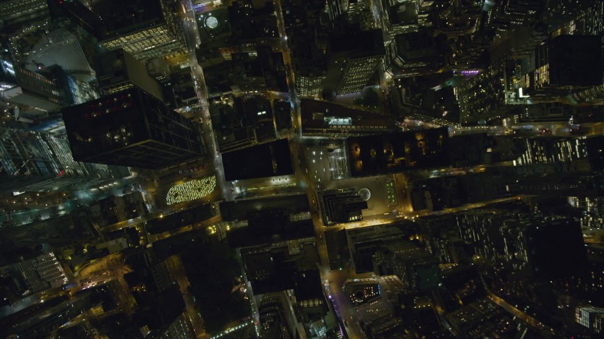 6K stock footage aerial video of a bird's eye view of Lower Manhattan at Nighttime in New York City Aerial Stock Footage | AX123_087