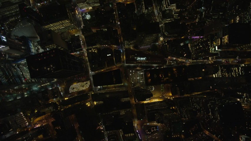 5.5K stock footage aerial video of a bird's eye view of Lower Manhattan at Nighttime in New York City Aerial Stock Footage   AX123_087E