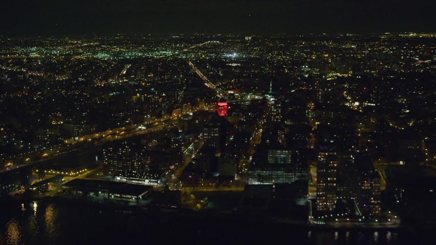 6K stock footage aerial video approach Williamsburgh Savings Bank building at Night in Brooklyn, New York City Aerial Stock Footage | AX123_093