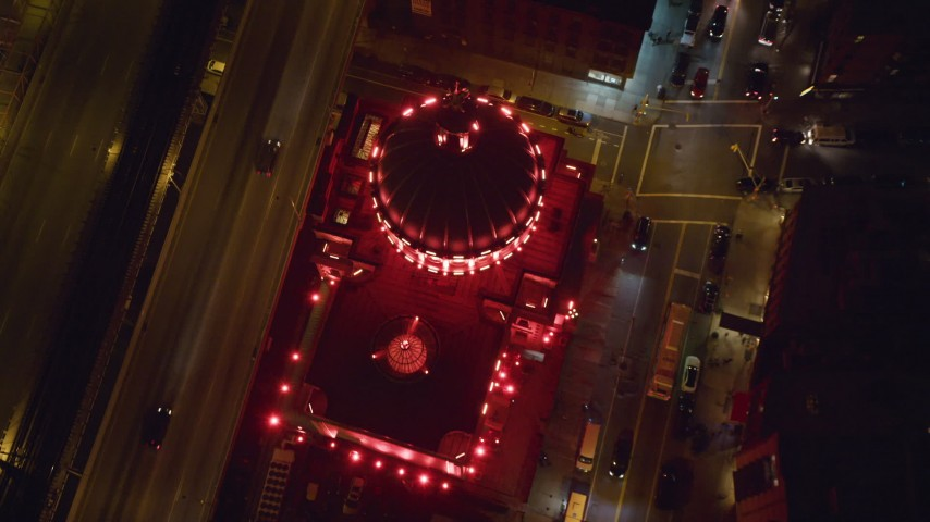 6K stock footage aerial video tilt to a bird's eye of Williamsburgh Savings Bank building at Night in Brooklyn, NYC Aerial Stock Footage | AX123_097