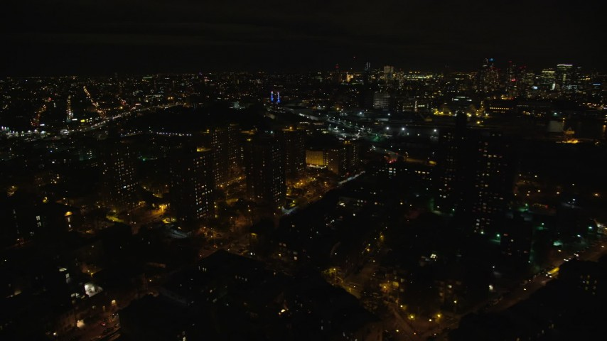 6K stock footage aerial video orbit Brooklyn public housing at Night in NYC Aerial Stock Footage | AX123_098