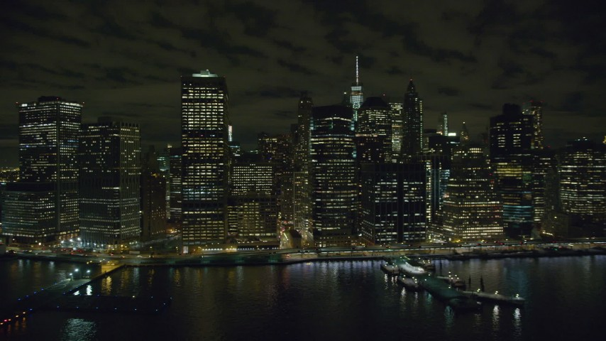6K stock footage aerial video of an orbit of riverfront towers in Lower Manhattan at Night in New York City Aerial Stock Footage | AX123_108