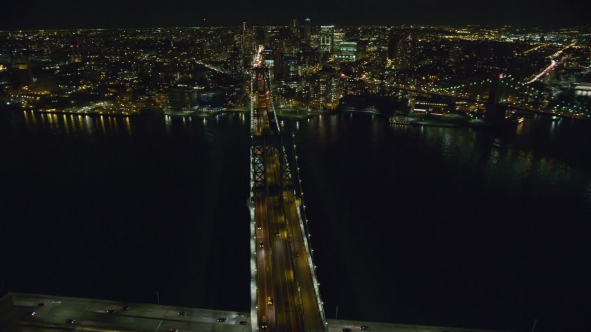 6K stock footage aerial video of orbiting the Manhattan Bridge at Night in New York City Aerial Stock Footage | AX123_114