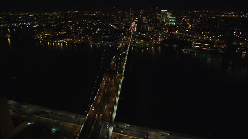 5.5K stock footage aerial video of orbiting the Manhattan Bridge at Night in New York City Aerial Stock Footage   AX123_114E