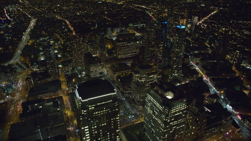 6K stock footage aerial video orbit skyscrapers in the downtown area of Brooklyn at Night, NYC Aerial Stock Footage | AX123_119