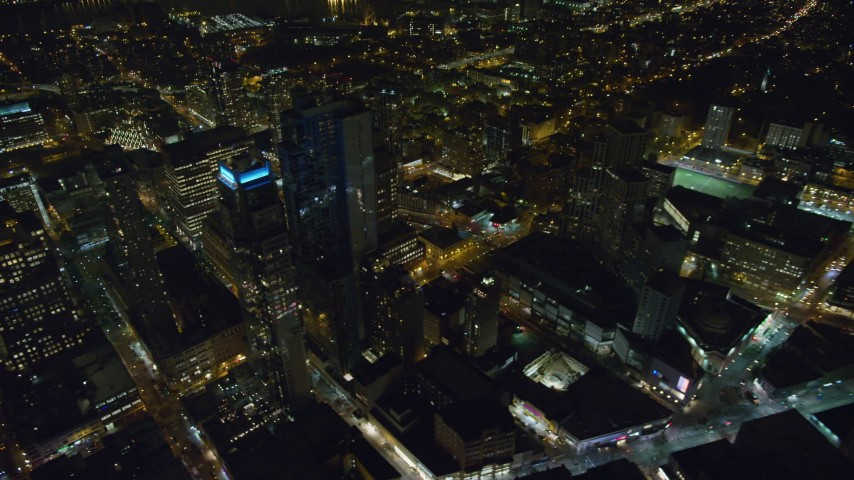 6K stock footage aerial video orbit high-rise buildings in the downtown area of Brooklyn at Night in New York City Aerial Stock Footage | AX123_120