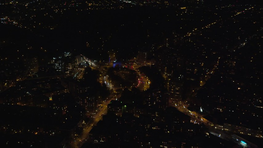6K stock footage aerial video orbit Grand Army Plaza at Night in Brooklyn, NYC Aerial Stock Footage | AX123_123