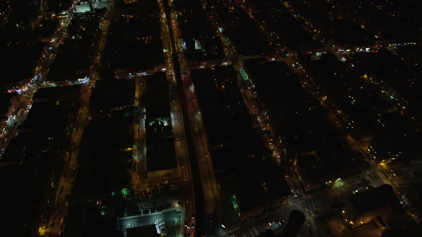5.5K stock footage aerial video of a bird's eye of Atlantic Avenue at Night in Brooklyn in New York City Aerial Stock Footage   AX123_124E