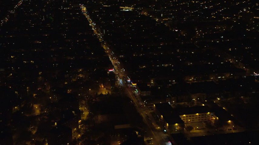 6K stock footage aerial video orbit Brooklyn apartment buildings at Night in New York City Aerial Stock Footage | AX123_128