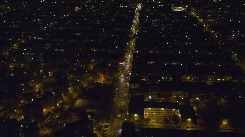 6K stock footage aerial video of orbiting a Brooklyn city street at Night in NYC Aerial Stock Footage | AX123_129
