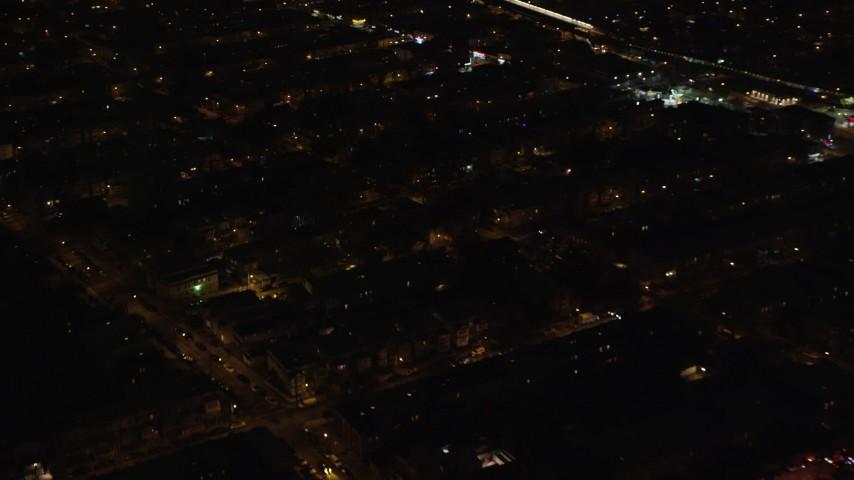 5.5K stock footage aerial video orbit suburban neighborhood at Night in Brooklyn in New York City Aerial Stock Footage   AX123_136E
