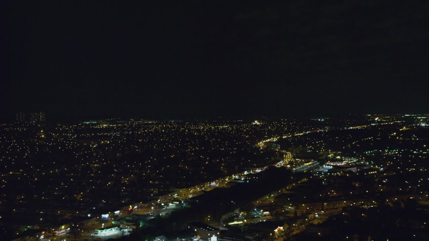 6K aerial video of Queens Village suburbs at Night in Queens, New York City Aerial Stock Footage | AX123_149