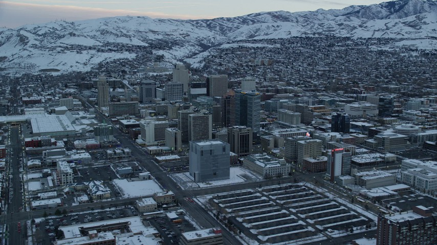 Downtown Salt Lake City, Utah, at Sunrise in Winter Aerial Stock Footage | AX124_012