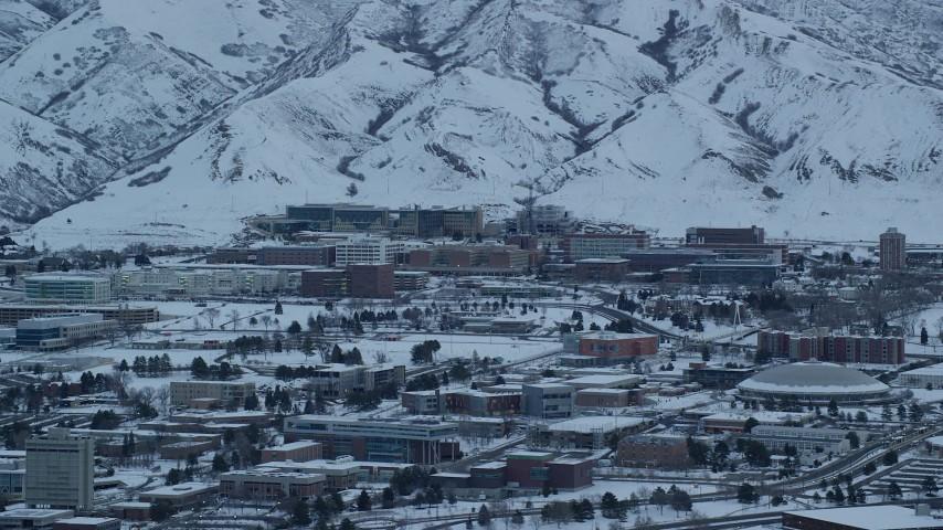 6K stock footage aerial video of University of Utah Hospital at Sunrise in Winter, Salt Lake City Aerial Stock Footage | AX124_016