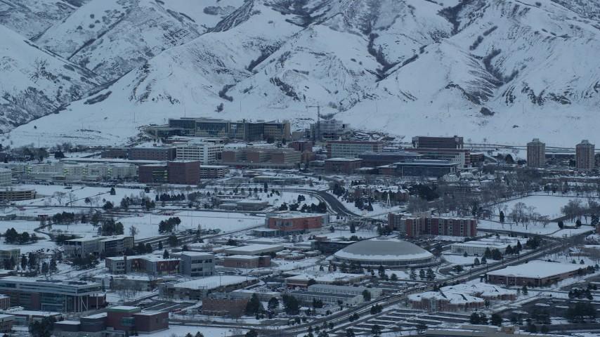 6K stock footage aerial video orbit University of Utah Hospital at Sunrise in Winter, Salt Lake City Aerial Stock Footage | AX124_017
