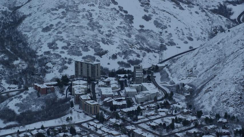 6K stock footage aerial video orbit Salt Lake City apartment buildings at Sunrise in Winter in Utah Aerial Stock Footage | AX124_021