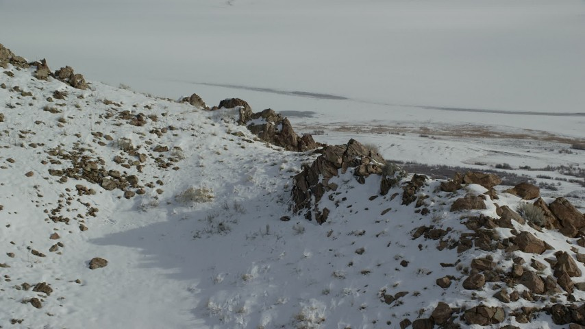 6K stock footage aerial video approach bighorn sheep on a rocky mountain slope of winter snow, Antelope Island, Utah Aerial Stock Footage | AX125_075