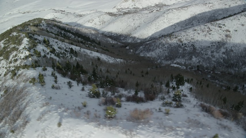 6K stock footage aerial video of orbiting snowy slopes with evergreens in the Oquirrh Mountains of Utah Aerial Stock Footage   AX125_160