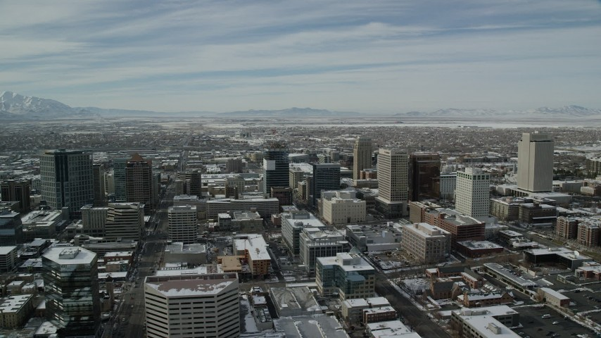 Circling Downtown Salt Lake City with Winter Snow in Utah Aerial Stock Footage | AX126_022