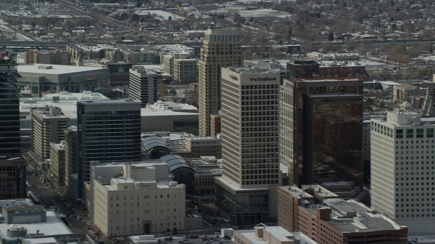 6K stock footage aerial video of downtown buildings with winter snow in Salt Lake City, Utah Aerial Stock Footage | AX126_044