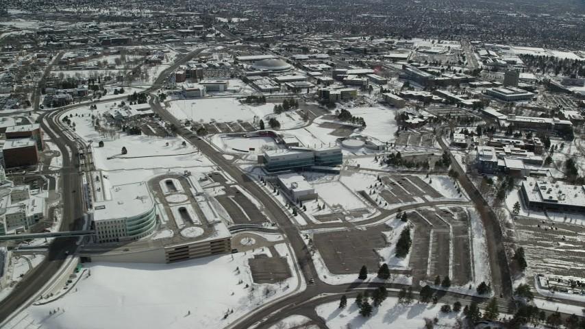 6K stock footage aerial video of snowy campus of University of Utah in winter, Salt Lake City Aerial Stock Footage | AX126_056