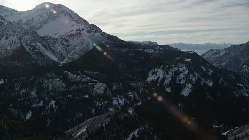 Orbit North Side of Mount Timpanogos with Wintertime Snow Aerial Stock Footage | AX126_282