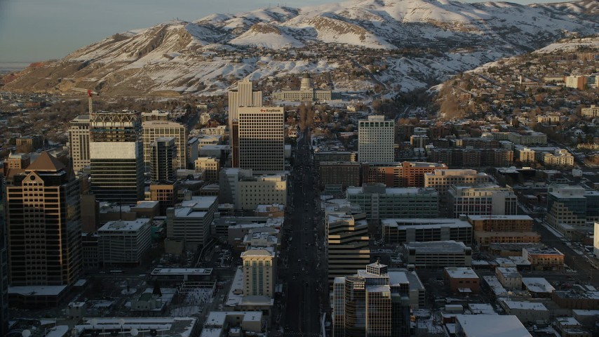 Follow State Street to Approach Utah State Capitol at Sunset in Wintertime Aerial Stock Footage | AX127_137