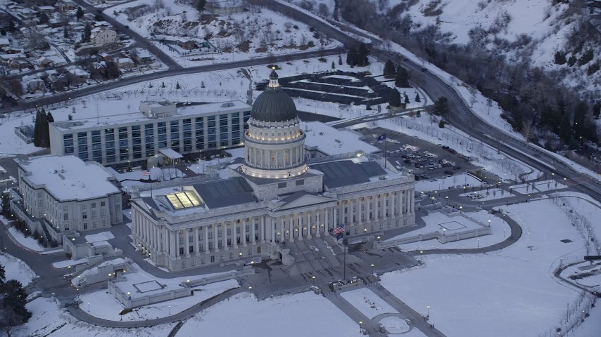 Orbit Front Side of Utah State Capitol with Winter Snow on the Ground at Sunset Aerial Stock Footage | AX128_011