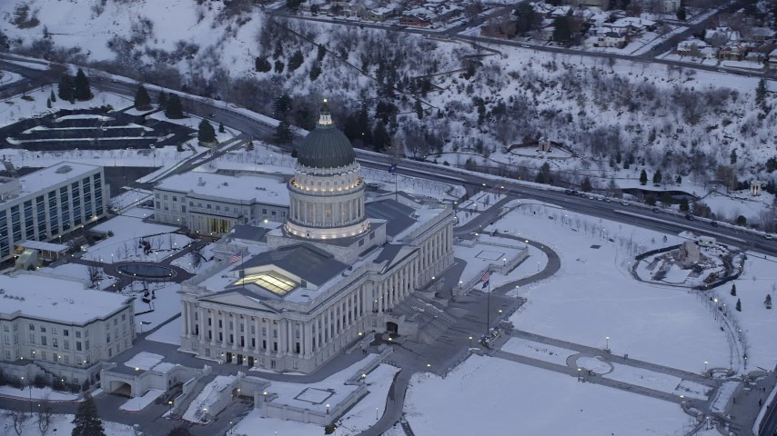 Orbit West Side of Utah State Capitol with Winter Snow at twilight Aerial Stock Footage | AX128_012