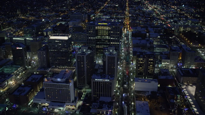 Orbit Office Buildings in Downtown near Broadway in Winter at Night Aerial Stock Footage | AX128_090