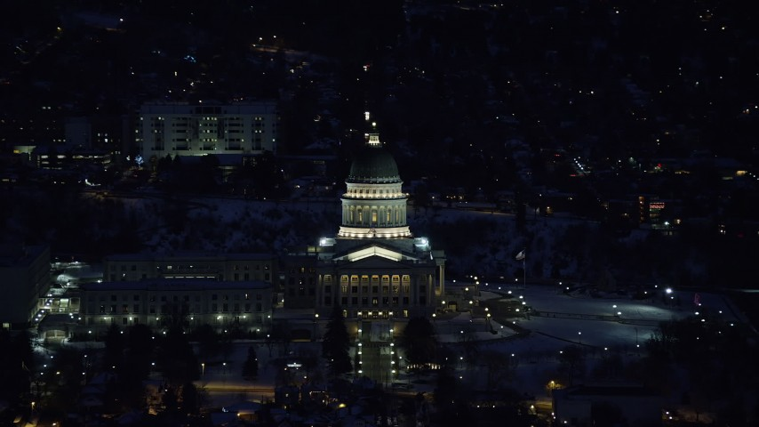 Orbiting the Utah State Capitol with Winter Snow at Night Aerial Stock Footage | AX128_107