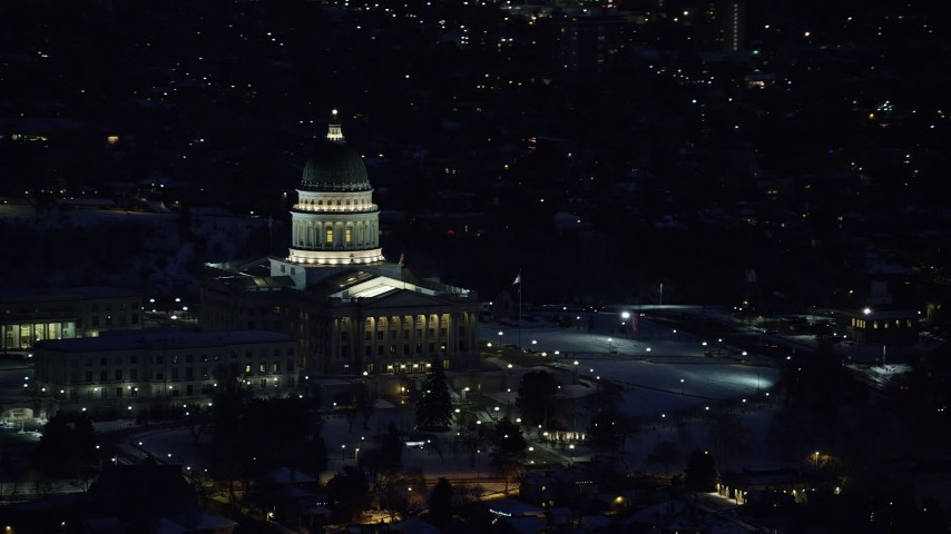 Orbit of the State Capitol Building with Winter Snow at Night Aerial Stock Footage | AX128_108