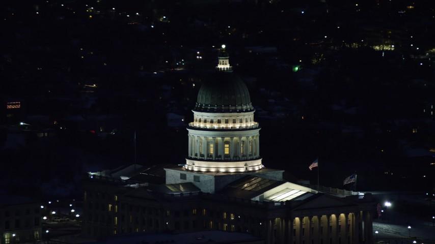 6K stock footage aerial video orbit dome of the Utah State Capitol at night in winter, Salt Lake City, Utah Aerial Stock Footage   AX128_109