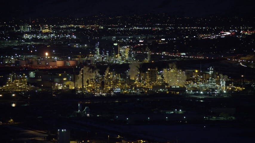6K stock footage aerial video of circling a Salt Lake City refinery at night in winter, Utah Aerial Stock Footage | AX128_113