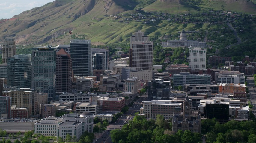 Fly by State Street, Utah State Capitol, Capitol Hill, Downtown Salt Lake City, Utah Aerial Stock Footage | AX129_014