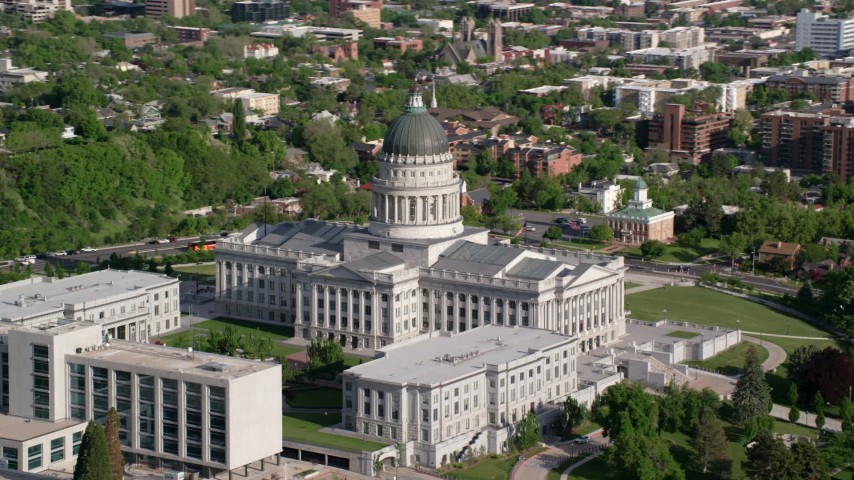 Flying by the Utah State Capitol, Capitol Hill, Salt Lake City, Utah Aerial Stock Footage | AX129_019