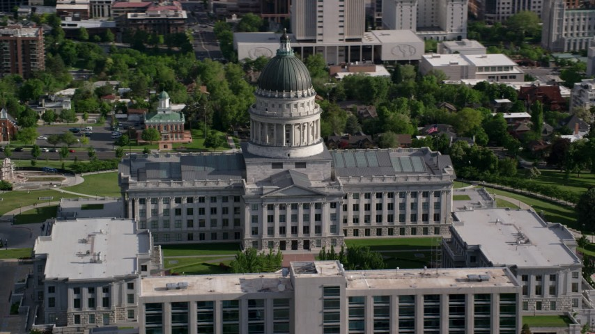 6K stock footage aerial video of orbiting the Utah State Capitol on Capitol Hill, Salt Lake City, Utah Aerial Stock Footage | AX129_020